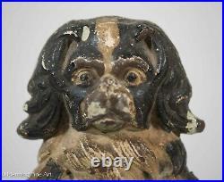 Rare Antique Judd Cast Iron Charles Spaniel Dog Doorstop, Original Paint 9 NICE