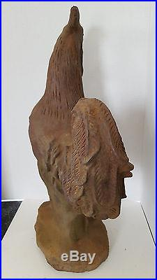 Rare Antique Large Heavy Cast Iron Rooster Garden Barn