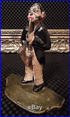 Rare Antique Musician J. Dorsey Saxophone Jazz Player Cast Iron Spencer Doorstop & spencer | Cast Iron Doorstop
