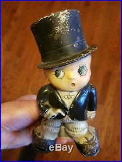Rare CJO Judd Cast Iron Doorstop Boy In Tuxedo and Top Hat