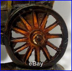 Rare Early 20th C Vint Large Conestoga Covered Wagon Painted Cast Iron Doorstop