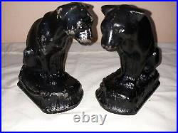 Rare Pair Numbered Hubley Cast Iron Twin Lion Cat Bookends Original Paint