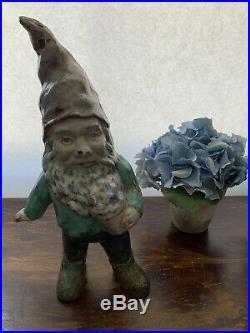 Rare Vintage Antique Cast Iron Garden Gnome / Elf Figurine Statue Doorstop