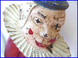 Rare all original vintage 1940 cast iron doorstop, Hubley 2 sided clown, cover