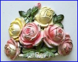 Rare original antique 1940's cast iron Pink Roses flower doorstop, Hubley 445