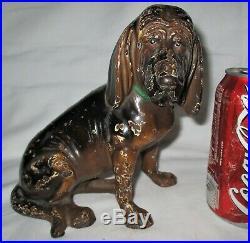 SCARCE! ANTIQUE HUBLEY USA CAST IRON BLOODHOUND DOG ART STATUE DOORSTOP w LABEL