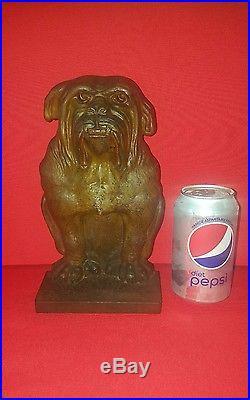 Super Rare Antique Bradley & Hubbard Cast Iron Bulldog Statue Door Doorstop