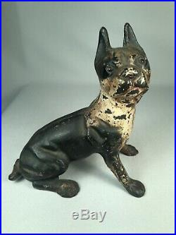 Scarce Antique Cast Iron Boston Terrier Dog Doorstop In Seated Pose, Must See