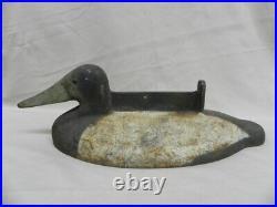 Scarce Antique Cast Iron Duck 2-Tone 15 Boot Scrapper Doorstop Decoy Long Beak