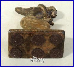 Small 6 Antique vtg Original Walking DUCK in TOP HAT Cast Iron DOORSTOP Bird