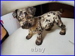 Super Rare original Label Vintage Antique Hubley pup Terrier CAST IRON DOORSTOP