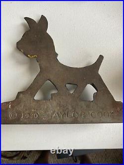 Taylor Cook Cast Iron Door Stop C1930 Walking Dog Original Paint Art Deco Design