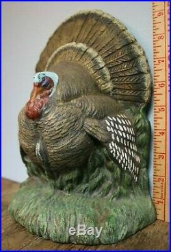 Turkey Cast Iron Door Stop Painted Old Antique Bird Thanksgiving Decor 10 8#+