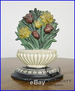 Unusual Flower Basket Cast Iron Door Stop. Tulips & Daffodils