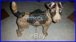 VINTAGE 30's Original Hubley Cast Iron Airedale/Wire Fox Terrier Dog Door Stop