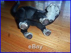 VINTAGE CAST IRON BLACK CAT DOOR STOP FIGURINE 11 inches