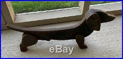VINTAGE Pair Cast Iron Dachshund Statues, Doorstop Shoe Scrape Original Patina