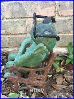 VIntage Cast Iron Frogs On A Bench & Chair Doorstop/Garden Art Painted Rare