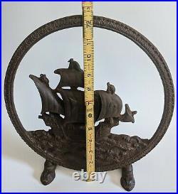 VTG 1920's RADIO SHIP CONE SPEAKER TOWER ADVENTURER CAST IRON FRAME DOOR STOP