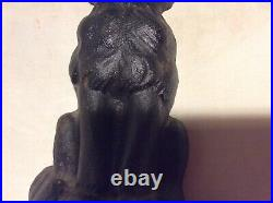 VTG 1920s NATIONAL FOUNDRY TYPE Cast Iron Black Cat Yellow Eyes Doorstop 6.5