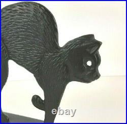 VTG BLACK CAT Cast Iron Doorstops 2 Silhouette Antique primitive heavy RARE door