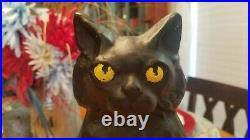VTG Cast Iron Hubley Doorstop Cat on Trapezoid Base Door Stop Halloween Decor
