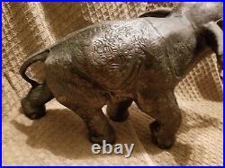 VTG LARGE Brass Bronze Figural African/Indian Elephant Statue Celluloid Tusks