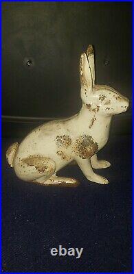 Very Rare Antique Hubley Large Cast Iron Rabbit Garden Statue Doorstop