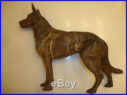 Very Rare Antique Lg Front Facing Hubley German Shepherd Cast Iron Dog Doorstop