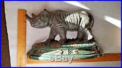Very Rare Antique Victorian Rhinoceros Rhino Cast Iron Statue Doorstop Hubley
