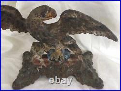 Victorian Painted Cast Iron Eagle Doorstop Hubley Bradley & Hubbard c1895