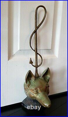 Victorian Solid Cast Brass Fox Head Whip Door Stop Porter Iron Base Antique