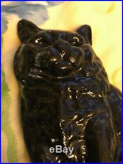 Victorian Solid Cast Iron Black Cat Doorstop Salvage Item