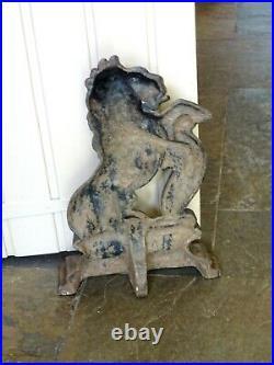 Victorian cast iron doorstop, heraldic rampant lion, possibly St Blazey Foundry