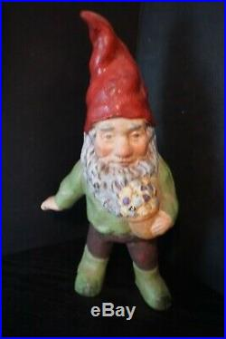 Vintage 13 Inch Cast Iron Lawn Gnome With Basket Of Flowers Doorstop Garden