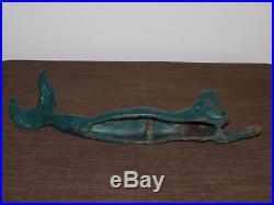 Vintage 17 Long Cast Iron Mermaid Door Stop Or Garden Figure Statue