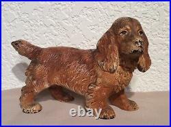 Vintage 1930s HUBLEY Cast Iron Cocker Spaniel Dog Bookend #427
