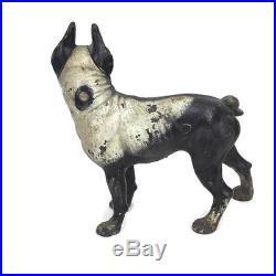 Vintage 1930s Hubley Boston Terrier Dog Cast Iron Doorstop Heavy Measures 10x10