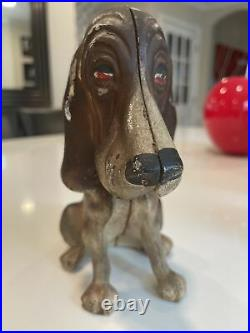 Vintage Antique Cast Iron Door Stop/bank Basset Hound Dog Hubley! Original Paint