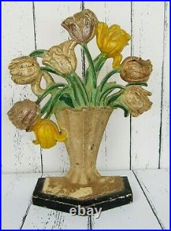 Vintage Antique HUBLEY Doorstop #443 Tulip Vase Design 1940 Art Deco