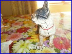 Vintage Antique Large Cast Iron Boxer Boston Terrier Bull Dog Door Stop Statue