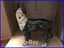 Vintage Boston Terrier Cast Iron Door Stop Original Paint Right Facing Hubley