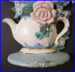 Vintage CAST IRON MIDWEST IMPORTERS DOOR STOP Lovely Teapot & Flowers Motif