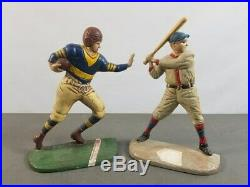 Vintage Cast Iron Baseball and Football Player Doorstops Bookends 9 Tall