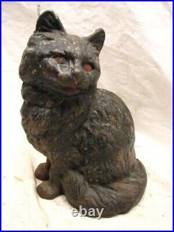 Vintage Cast Iron Black Cat Door Stop Feline Kitten Figural Animal Doorstop