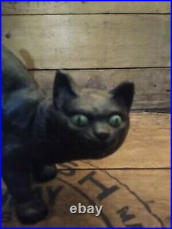 Vintage Cast Iron Black Cat Figure Doorstop Halloween Scared Arched Back