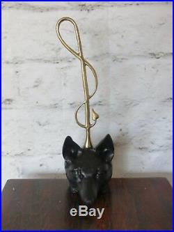 Vintage Cast Iron & Brass Fox Head Door Stop Riding Crop Virginia Metalcrafters
