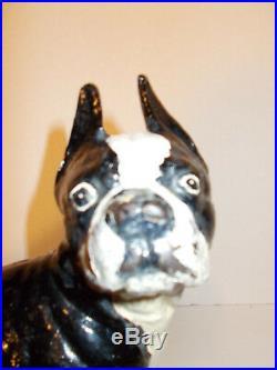Vintage Cast Iron Bulldog Boston Terrier Dog Doorstop