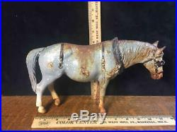 Vintage Cast Iron Doorstop Dapple Gray Old Work Horse With Harness Rare HTF