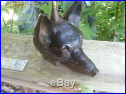 Vintage Cast Iron Fox Head & Brass Riding Crop Door Stop As Found